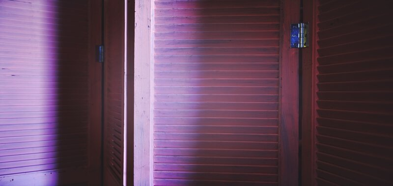 Partition screen with purple light