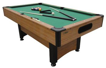 Standard pool table with green felt top