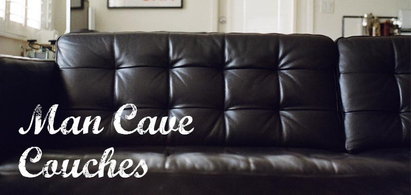 Black leather couch with title of this page