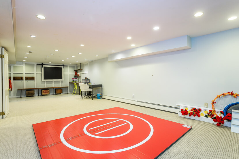 Open space entertainment room with wrestling mat